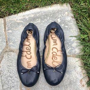 Sam Edelman Felicia Leather Flat Navy Blue 10 Wide